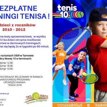 Nabór dzieci na bezpłatne treningi tenisowe